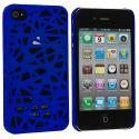 Apple iPhone 4 / 4S Dark Blue Birds Nest Hard Rubberized Back Cover Case Angle 2