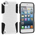 Apple iPod Touch 5th 6th Generation Black / White Hybrid Mesh Hard/Soft Case Cover Angle 1