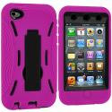 Apple iPod Touch 4th Generation Hot Pink / Black Hybrid Heavy Duty Hard/Soft Case Cover with Stand Angle 3