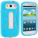 Samsung Galaxy S3 Baby Blue / White Hybrid Heavy Duty Hard/Soft Case Cover with Stand Angle 3