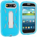 Samsung Galaxy S3 Baby Blue / White Hybrid Heavy Duty Hard/Soft Case Cover with Stand Angle 4
