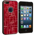 Apple iPhone 5/5S/SE Red Metal Grid Aluminum Metal Hard Case Cover Angle 2