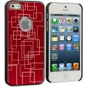 Apple iPhone 5/5S/SE Red Metal Grid Aluminum Metal Hard Case Cover Angle 3