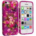 Apple iPhone 5C Purple Mixed Flower TPU Design Soft Case Cover Angle 1