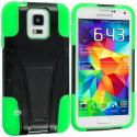 Samsung Galaxy S5 Black / Neon Green Hybrid Hard/Silicone Case Cover with Stand Angle 2