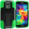 Samsung Galaxy S5 Black / Neon Green Hybrid Hard/Silicone Case Cover with Stand Angle 3