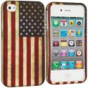 Apple iPhone 4 / 4S USA Flag2D Hard Rubberized Design Case Cover Angle 1