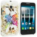 Alcatel One Touch Evolve 2 Colorful Butterfly TPU Design Soft Rubber Case Cover Angle 1