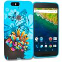 Huawei Google Nexus 6P Blue Butterfly Flower TPU Design Soft Rubber Case Cover Angle 1