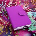 HTC One M8 M8 - Purple/ White MPERO FLEX FLIP Wallet Case Cover Angle 2