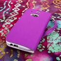 HTC One M8 M8 - Purple/ White MPERO FLEX FLIP Wallet Case Cover Angle 3