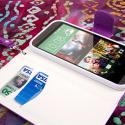 HTC One M8 M8 - Purple/ White MPERO FLEX FLIP Wallet Case Cover Angle 4