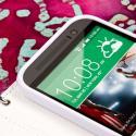 HTC One M8 M8 - Purple/ White MPERO FLEX FLIP Wallet Case Cover Angle 5