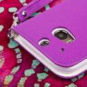 HTC One M8 M8 - Purple/ White MPERO FLEX FLIP Wallet Case Cover Angle 7