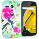 Motorola Moto G Blue Bird Pink Flower TPU Design Soft Rubber Case Cover Angle 1