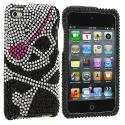 Apple iPod Touch 4th Generation Silver Skull on Black Bling Rhinestone Case Cover Angle 1