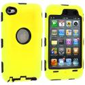 Apple iPod Touch 4th Generation Yellow Deluxe Hybrid Deluxe Hard/Soft Case Cover Angle 1