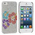 Apple iPhone 5 Red Purple Blue Flower Bling Rhinestone Case Cover Angle 1