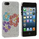 Apple iPhone 5 Red Purple Blue Flower Bling Rhinestone Case Cover Angle 2