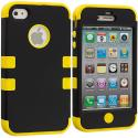 Apple iPhone 4 / 4S Black / Yellow Hybrid Tuff Hard/Soft 3-Piece Case Cover Angle 1
