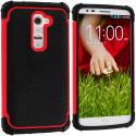 LG G2 Sprint, T-Mobile, At&t Black / Red Hybrid Rugged Hard/Soft Case Cover Angle 1