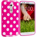 LG G2 Sprint, T-Mobile, At&t Hot Pink / White TPU Polka Dot Skin Case Cover Angle 1
