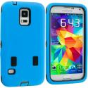 Samsung Galaxy S5 Blue / Black Hybrid Deluxe Hard/Soft Case Cover Angle 1