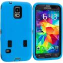 Samsung Galaxy S5 Blue / Black Hybrid Deluxe Hard/Soft Case Cover Angle 2