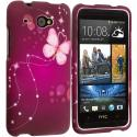 HTC Desire 601 Dream Butterfly 2D Hard Rubberized Design Case Cover Angle 1