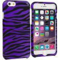 Apple iPhone 6 Plus 6S Plus (5.5) Black / Purple Zebra Hard Rubberized Design Case Cover Angle 1