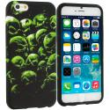 Apple iPhone 6 Plus 6S Plus (5.5) Green Skulls TPU Design Soft Rubber Case Cover Angle 1