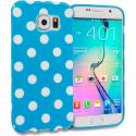Samsung Galaxy S6 Edge Baby Blue / White TPU Polka Dot Skin Case Cover Angle 1
