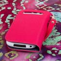 BlackBerry Curve 9310 / 9315 - Hot Pink MPERO FLEX FLIP Wallet Case Cover Angle 3