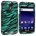 Samsung Skyrocket i727 Black / Baby Blue Zebra Design Crystal Hard Case Cover Angle 1