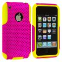 Apple iPhone 3G / 3GS Yellow / Pink Hybrid Mesh Hard/Soft Case Cover Angle 1