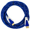 HDTV PS3 PS4 Xbox 360 Xbox One DVD 10ft Blue Mesh HDMI Cable 1.4 High Speed Angle 2