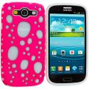 Samsung Galaxy S3 Pink / Blue Hybrid Bubble Hard/Soft Skin Case Cover Angle 1