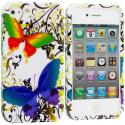 Apple iPhone 4 / 4S Rainbow Butterfly on White Design Crystal Hard Case Cover Angle 1
