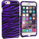 Apple iPhone 6 6S (4.7) Black / Purple Zebra Hard Rubberized Design Case Cover Angle 1