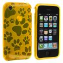 Apple iPhone 3G / 3GS Yellow Dog Paw TPU Rubber Skin Case Cover Angle 1