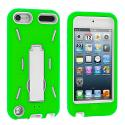 Apple iPod Touch 5th 6th Generation Green / White Hybrid Heavy Duty Hard/Soft Case Cover with Stand Angle 2