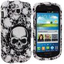 Samsung Galaxy Stellar i200 Black / White Skulls Design Crystal Hard Case Cover Angle 1