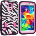 Samsung Galaxy S5 Hot Pink Hybrid Zebra 3-Piece Case Cover Angle 1