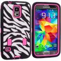 Samsung Galaxy S5 Hot Pink Hybrid Zebra 3-Piece Case Cover Angle 2