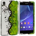 Sony Xperia Z2 Green / White Swirl 2D Hard Rubberized Design Case Cover Angle 1