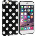 Apple iPhone 6 6S (4.7) Black / White TPU Polka Dot Skin Case Cover Angle 1