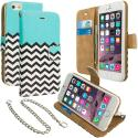 Apple iPhone 6 6S (4.7) Mint Green Zebra Leather Wallet Pouch Case Cover with Slots Angle 1