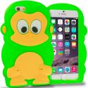 Apple iPhone 6 6S (4.7) Neon Green Monkey Silicone Design Soft Skin Case Cover Angle 1