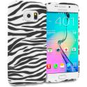 Samsung Galaxy S6 Edge Black/White Zebra TPU Design Soft Rubber Case Cover Angle 1
