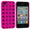 Apple iPhone 4 / 4S Hot Pink Weave Hard Rubberized Back Cover Case Angle 1